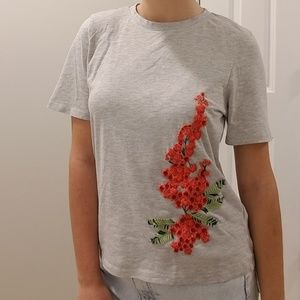 H&M Embroidered Grey Tee Orange Flowers